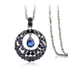 2019 Popular Crystal Round Pendant Necklace Vintage Waterdrop Shaped Big Pendant Necklace Women Sweater Chain Collar Gift Jewel flash shaped pendant chain necklace