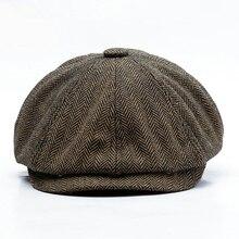 new berets Unisex Autumn Winter Newsboy hat Men Women Warm Tweed Octagonal cap For Male Detective Hats Retro Flat Caps