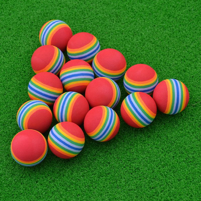 1Pcs Rainbow Stripe Foam EVA Sponge Golf Balls Swing Aids Practice Training H0Y4