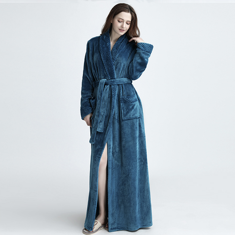 Image 3 - Lovers Winter Extra Long Plus Size Flannel Coral Fleece Warm Bathrobe Women Dobby Kimono Bath Robe Bridesmaid Sexy Dressing Gown-in Robes from Underwear & Sleepwears