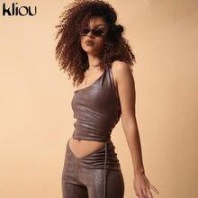 Kliou venda PU imitación de cuero conjuntos de dos piezas 2021 mujeres Sexy sin espalda Tops + Pantalones rectos Streetwear sólido trajes casuales caliente