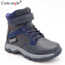 2019 New Winter Waterproof Boys Boots Pu Leather Mid-Calf Children's Shoes Warm Plush Rubber Winter Snow Boots for Boys EU snow boots for kids winter shoes rubber boots waterproof unisex mid calf hook