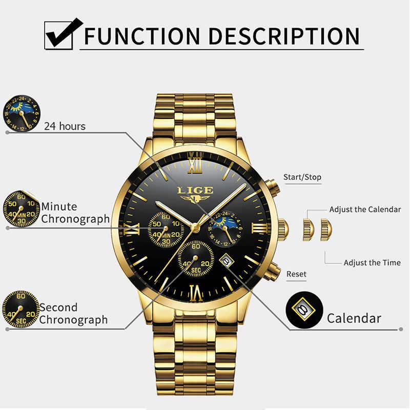 Luik Mannen Horloge Chronograaf Sport Heren Horloges Top Brand Luxe Waterdichte Volledige Steel Quartz Gouden Klok Mannen Relogio Masculino