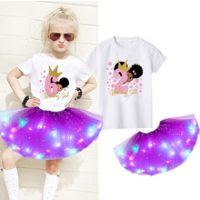 2021 Girls Dress Sets Party Casual Dress Black African Curly Hair Girl Short Sleeve Printed T-shirt+Luminous Skirt+Hairpin Suit