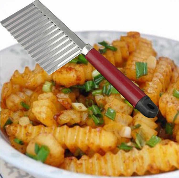 Couteau à pomme de terre à lame ondulée, Gadget de cuisine en acier inoxydable, coupe de légumes et de fruits eplucheur outils de cuisine, couteaux de cuisine, accessoires