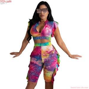 Fashion Sets Sleeveless 2 Two Piece Short Set Women Half and Half Summer Casual Tie-dye Print Ruffle Ziper Crop Top Shorts Pants(China)