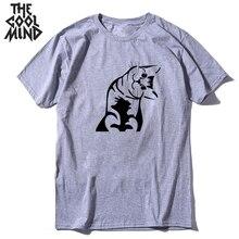 COOLMIND 100% cotton  cool  cat men tshirt loose summer men t shirt short sleeve men t-shirt male men tee shirts