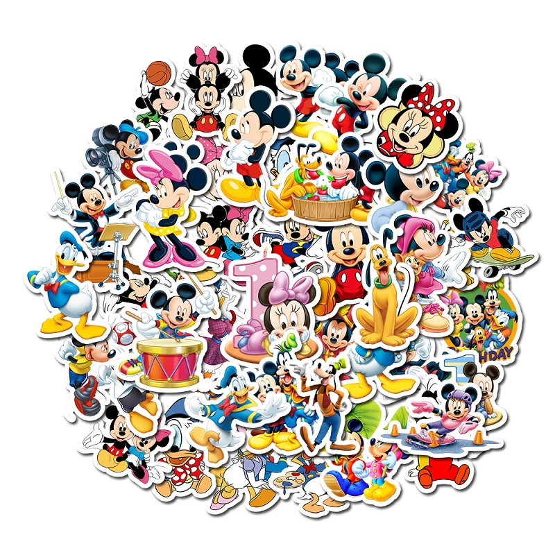 50Pcs Mickey Mouse Disney Stickers Albums Graffiti Laptop Skateboard Luggage Guitar Bicycle Children DIY Decal Sticker