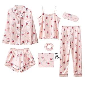 Image 3 - 7 pezzi Delle Donne Raso di Seta Pajamas Set Pigiama Set di Indumenti Da Notte Pijama delle donne Del Fiore Della Stampa Femminile Degli Indumenti Da Notte Loungewear