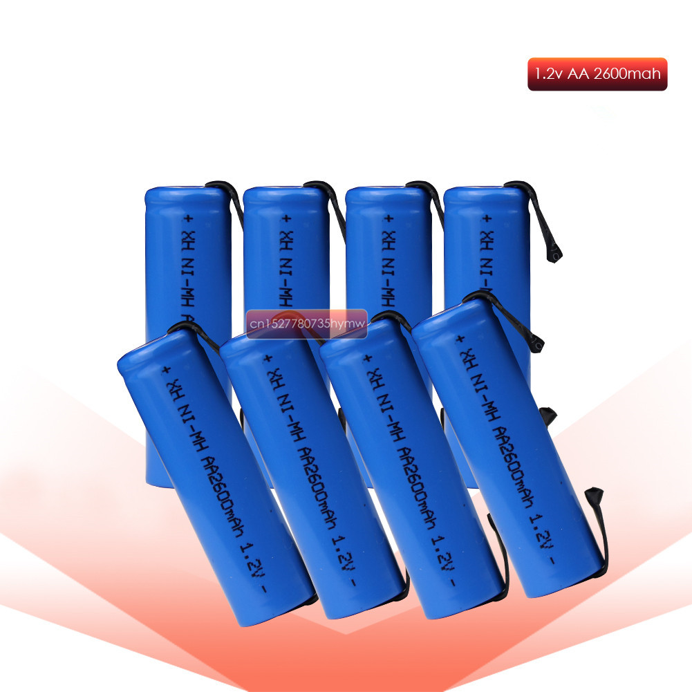1.2V AA rechargeable battery 2600mah 2A ni-mh nimh cell blue shell with tabs pins Braun electric shaver toothbrush image