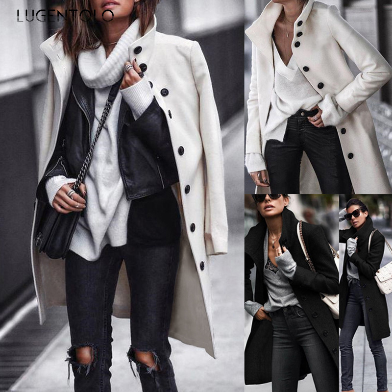 Lugentolo Women Long Coat Wool Autumn Fashion Casual Black White Solid Single-breasted Street Trend Turn-down Collar Coat
