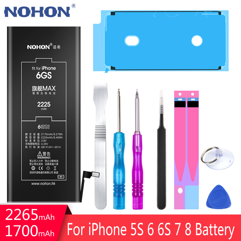 NOHON Battery For Apple iPhone 6S 6 7 8 5S 5C iPhone6S iPhone6 iPhone7 High Capacity Replacement Mobile Phone Batteria + Tools image