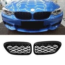 2Pc Diamante Estilo Grade Dianteira Do Carro de Corrida Grills Para BMW F30 F35 F10 F11 F18 E70 E71 F15 F16 3 5 Série X5 X6 Acessórios
