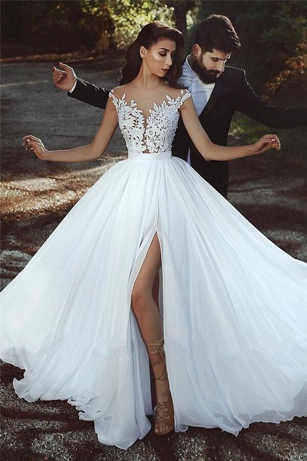 Vestido De Noiva 2019 Simple blanc mousseline De soie robe De mariée en dentelle Boho plage robes De mariée longue Tulle une ligne robes De mariée fête