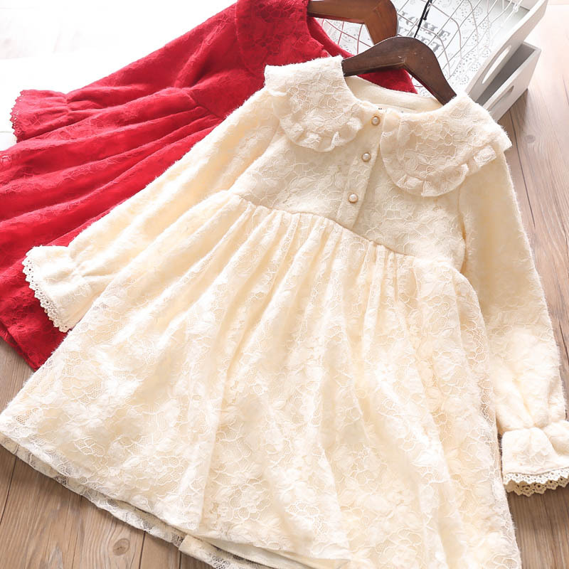 Kinder Kind Spitze Rot Beige Farbe Rüschen Kleidung Kleid Weihnachten Party Pricness Mode Kleidung Schöne Kinder Herbst Fleece Kleid