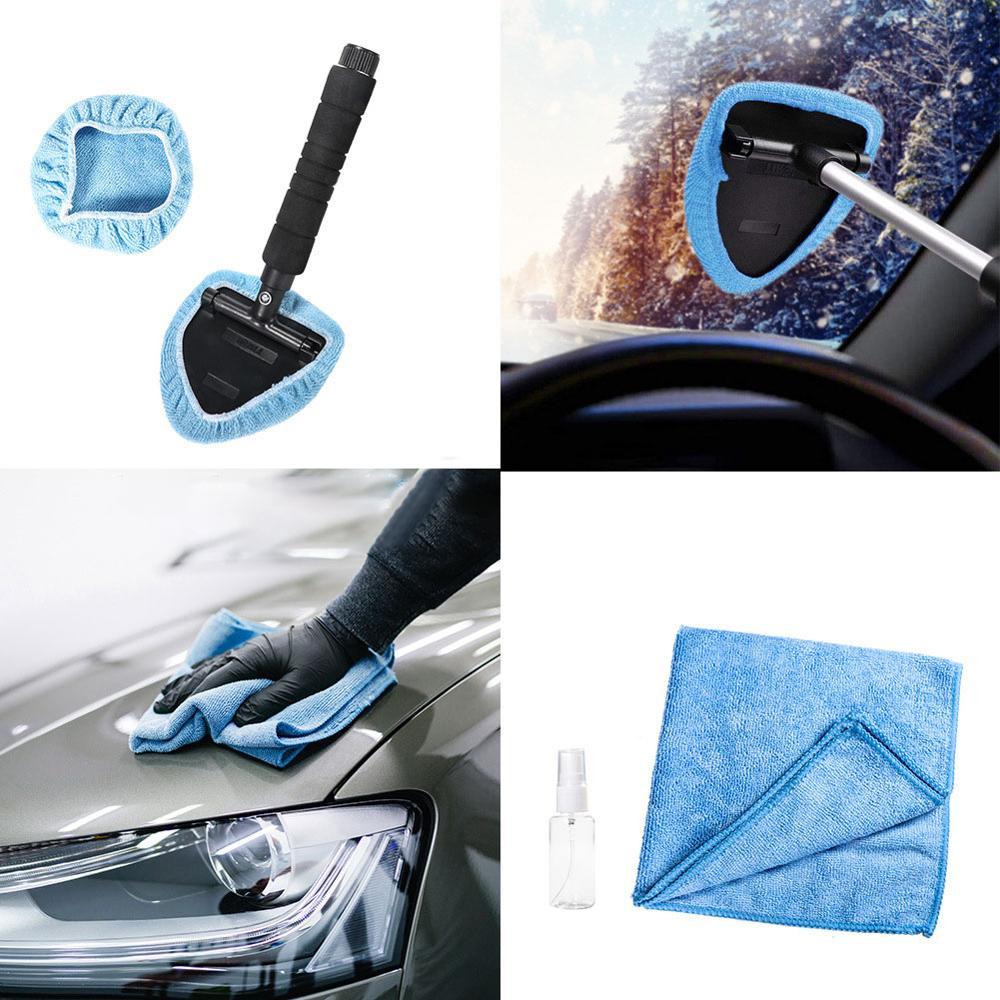 Car Glass Cleaner Auto Telescopic Window Cleaning Windshield Wiper Glass Microfiber Cloth Portable Wash Set Window Cleanerd