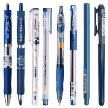 6 шт выдвижной синими чернилами гелевые ручки пресс гелевая ручка пуля студент офис углерода пресс-заправка поставки школа канцелярские маркер ручка