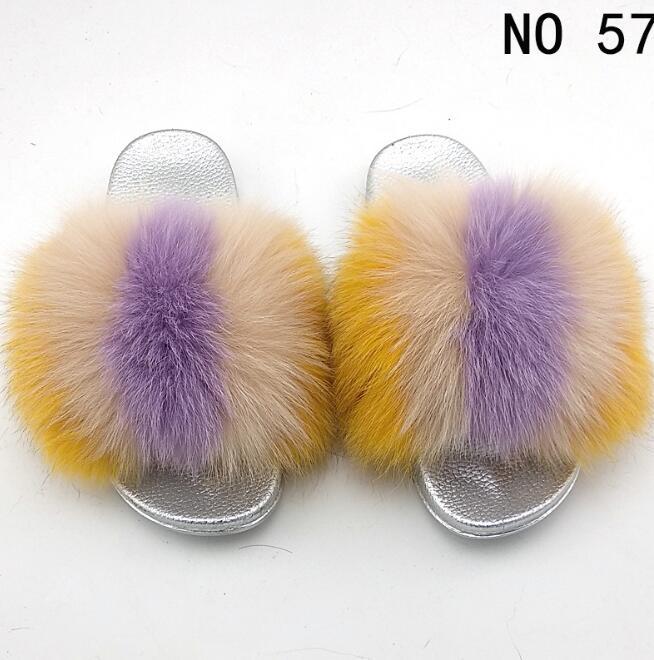 2020 Slippers Real FOX Fur Slides Indoor Flip Flops Casual Shoes Women Raccoon Fur Sandals Vogue Plush Shoes
