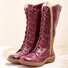 2019 New Women Boots Flock Leather Women Knee High Boots Lace Up Sexy Flats Autumn Woman Shoes Winter Women Boots Size 35-43 zbzfsk genuine leather women boots lace up fringe long boots shoes woman autumn winter tassel knee high boots plus size 34 43