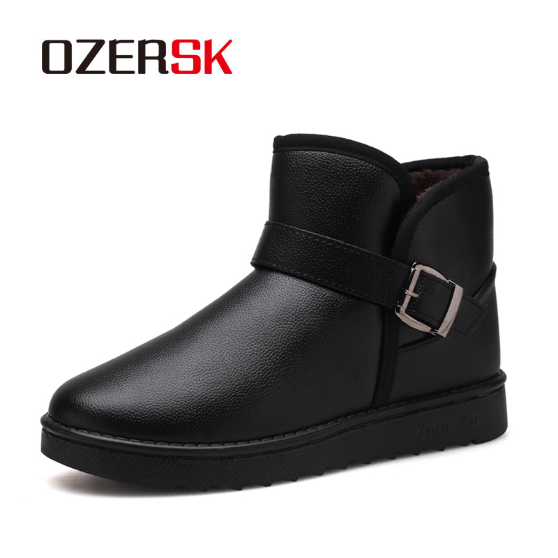 OZERSK Winter Hot Sale Luxury Brand Men Shoes Warm Fur Snow Boots Men Comfortable Ankle Boot Quality Casual Leather Boot  Men