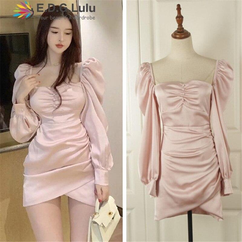 EDGLuLu femmes mini robe hiver à manches longues rose robe à manches bouffantes irrégulière sexy élégant vintage femmes automne vêtements