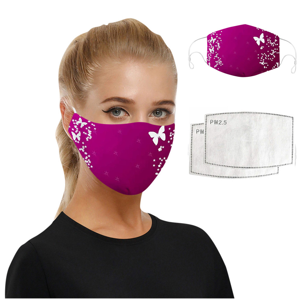 Beautiful Butterfly Pattern Women Mouth Mask With 2pcs Filters Elastic Dustproof Washable Adults Pink Face Mask Mondkapjes