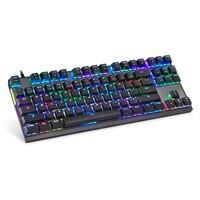 87 K82 Wired Mechanical Keyboard RGB Backlit Glowing Gaming Keyboards 87 Keys Black Pink Multi-Function USA Keyboard (1)