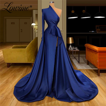 Saudi Arabia Elegant Navy Blue Evening Dress Dubai Party Gowns Satin Celebrity Dresses Formal One Shoulder Robe De Soiree 2020 - discount item  51% OFF Special Occasion Dresses