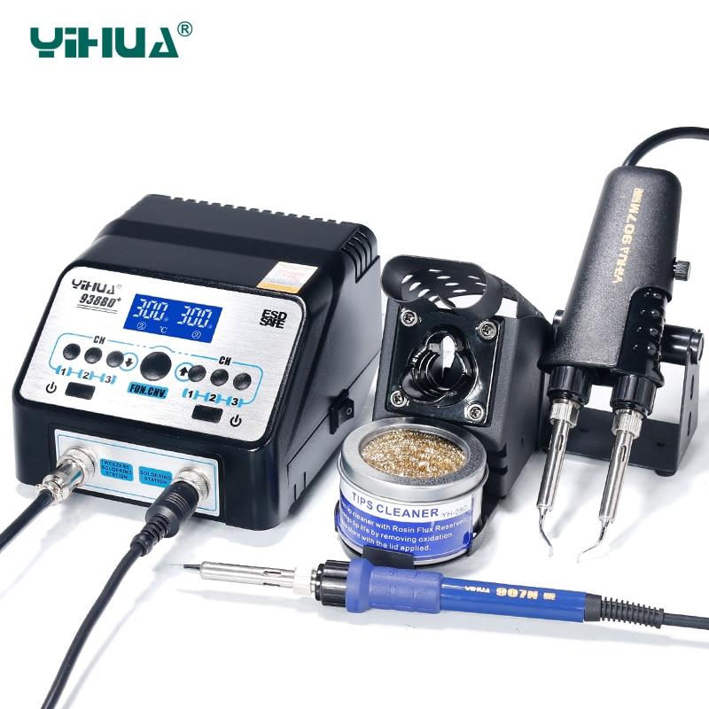 YIHUA 938BD+ Double Tweezers Soldering Iron Station Hihg Power Soldering Machine Tools Set Free Shipping