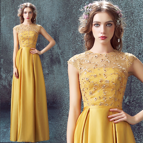 Gold Lace Cap Sleeve Long Evening Dress 2015 Sexy Backless Prom Beading Formal Dresses Robe De Soire Vestidos De Festa Longo