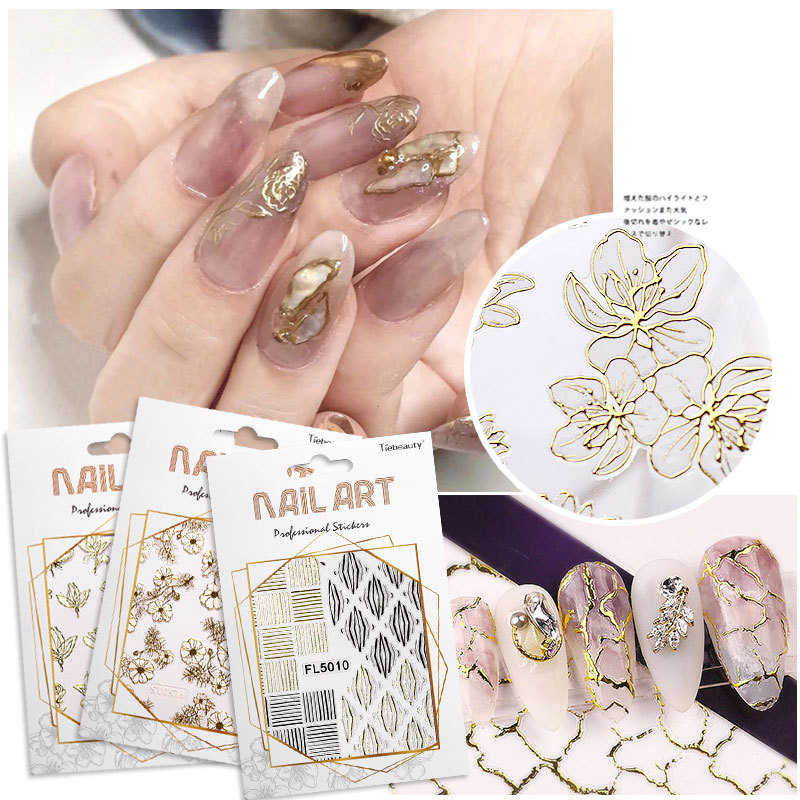 1Pc Goud Zilver 3D Mesh Nail Sticker Hollow Netto Lijn Tape Folies Kant Bronzing Nail Decals Polish Wraps Decoraties manicure Diy