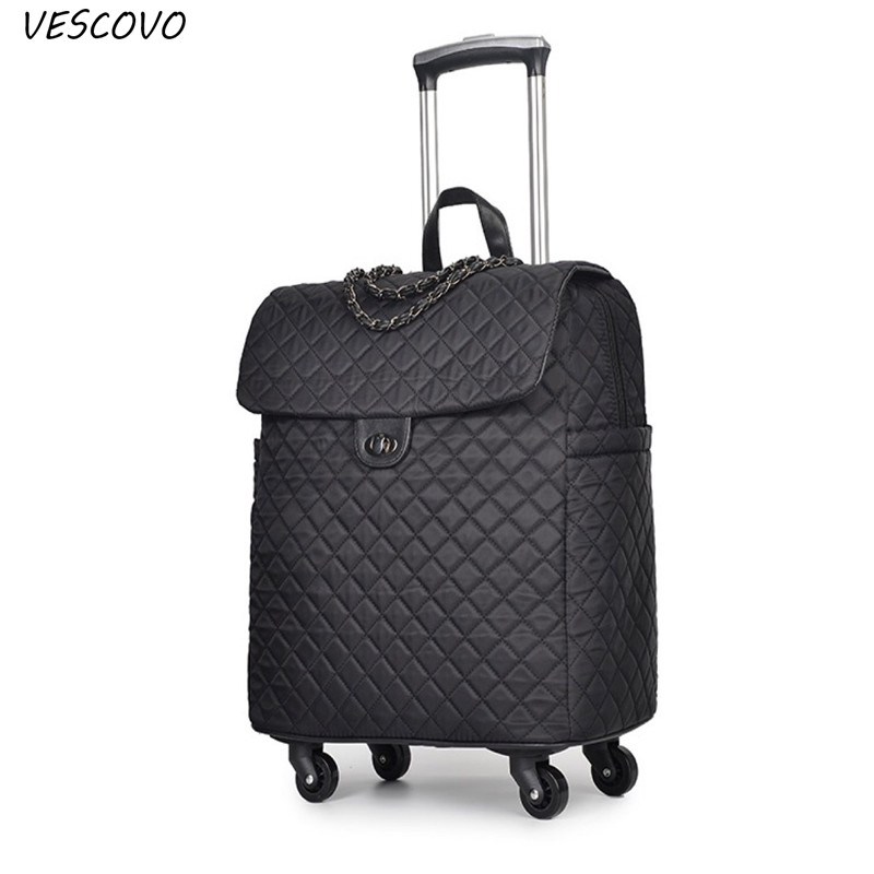 VESCOVO 20inch Portable Trolley  Travel Bag With Wheels Women Handbag Lightweight Large Capacity Suitcase Carry-on Bags