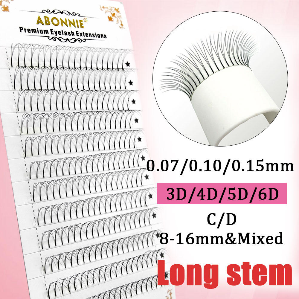 ABONNIE 12 Lines Premade Volume Fans 007/010/015 C D Lash Russian Volume Eyelash Extensions Pre Made Lash Extension Faux Mink