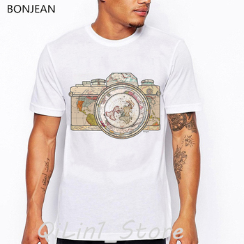 vintage camera world map print t-shirt men oversized tshirt camisetas hombre harajuku shirt summer tops tee homme