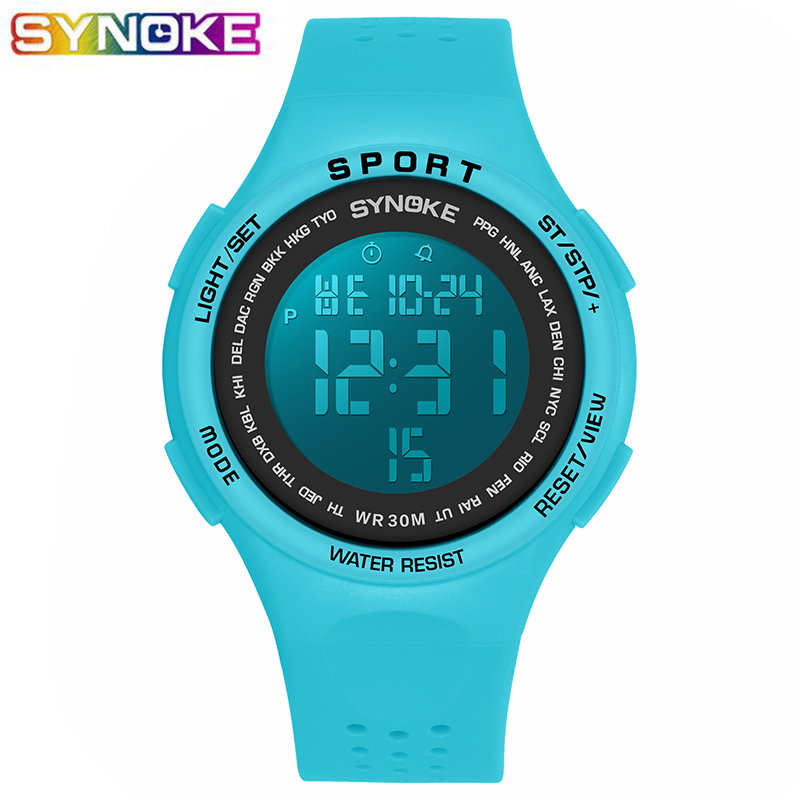 SYNOKE Blue Sports Digital Watch For Boys Girls Student LED Kids 30M Waterproof Alarm Stop Watch Gift Luminous Children Clock