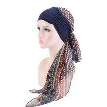 Helisopus moda mujer turbante musulmán gasa bufandas sombreros de pelo largo bufandas gorras de quimio accesorios para el cabello mujeres Bandanas