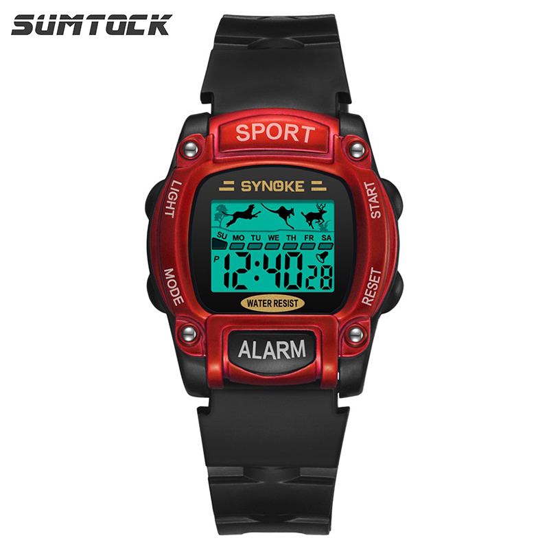 SYNOKE Red Black Digital Watch For Kids Cute Animal Luminous Boys Watches Sport Chronograph Alarm Children Student Stop Watch