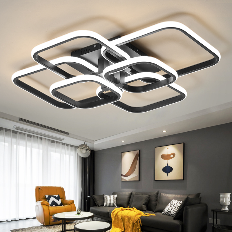 Praça lustre para sala de estar jantar cozinha moderna preto led lâmpada do teto regulável quarto luminárias frete grátis
