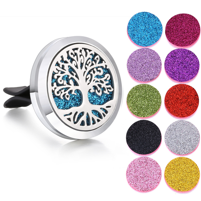 New Aromatherapy Jewelry Car Perfume Diffuser 316L Stainless Steel Aroma Essential Oil Diffuser Car Clip Lockets DropShipping
