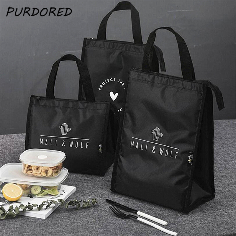 PURDORED 1 Pc Black Cactus Pattern Lunch Bag Thermal  Picnic Lunch Box Bag Insulation Bento Pouch Travel Food Fruit Organizer