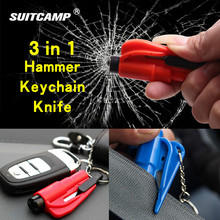 Outdoor Emergency Survival Knife Safety Hammer Knife Life Saving Seat Belt Cutter Break Window Glass Car Hanging Key Chain 100pcs brand new elysaid emergency safety seat belt cutter auto escape knife stainless steel blade life saving equipment