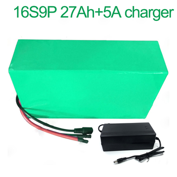 With 5A charger 60V 27Ah 16S9P 18650 Li-ion Battery electric two Three wheeled motorcycle bicycle  ebike 310*175*70mm
