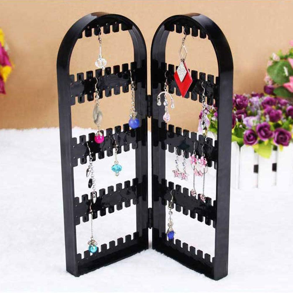 120 Holes Folding Earring Holder Organizer Screen Jewelry Display Storage Rack Necklace Bracelet Earring Ring Jewelry Display Ra
