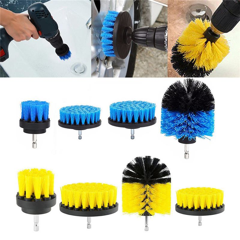 4Pcs 2/3.5/4/5 Inch Electric Drill Brush Bathroom Surfaces Tub  Tile and Grout All Purpose Power Scrubber Cleaning Kit|Cleaning Brushes| |  - title=