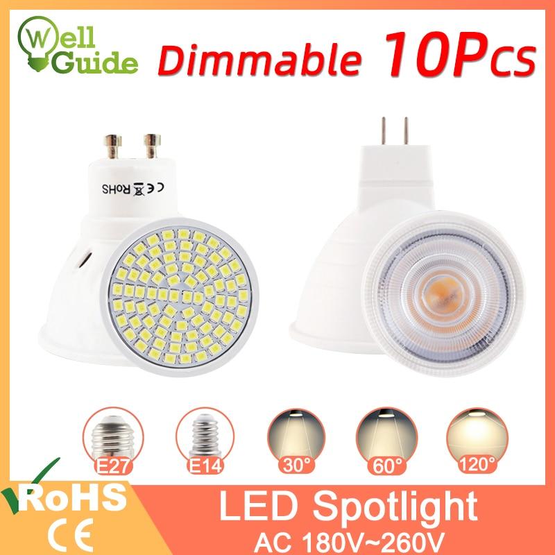 10pcs LED Spotlight Dimmable GU10 MR16 E27 E14 Led Lamp 6W 3W 8W 220V AC12V Spot LED Bulb Lampada Bombillas Cold Warm White