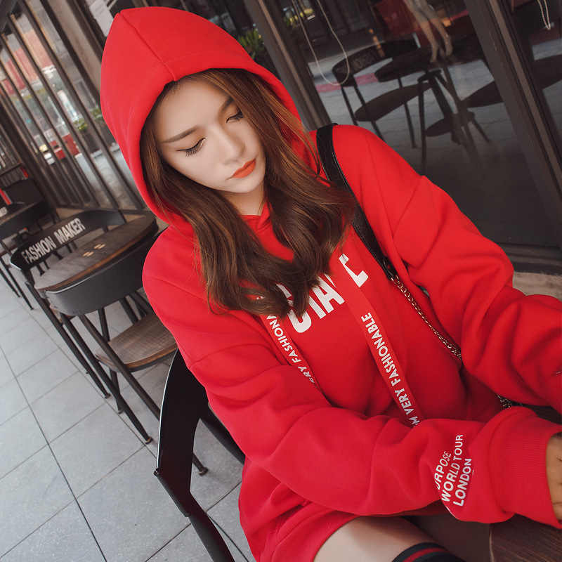 Fashion Winter Autumn Hoodies Women pullovers Funny Letter Printed Red Sweatshirt Loose Long Tops Female Casual Hooded Tracksuit