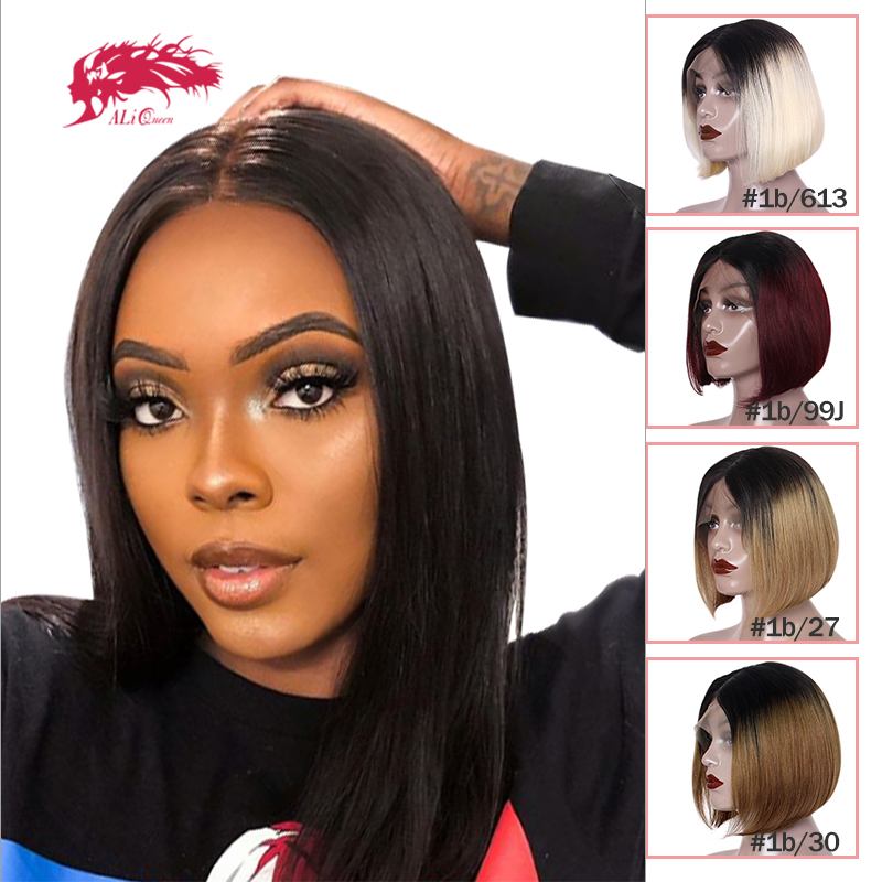 Ali Queen Brazilian Straight Part Lace Wigs Middle Part #1B #613 #1B/613 #1B/30 #1B/99J #1B/27 Short Bob Remy Human Hair Wigs