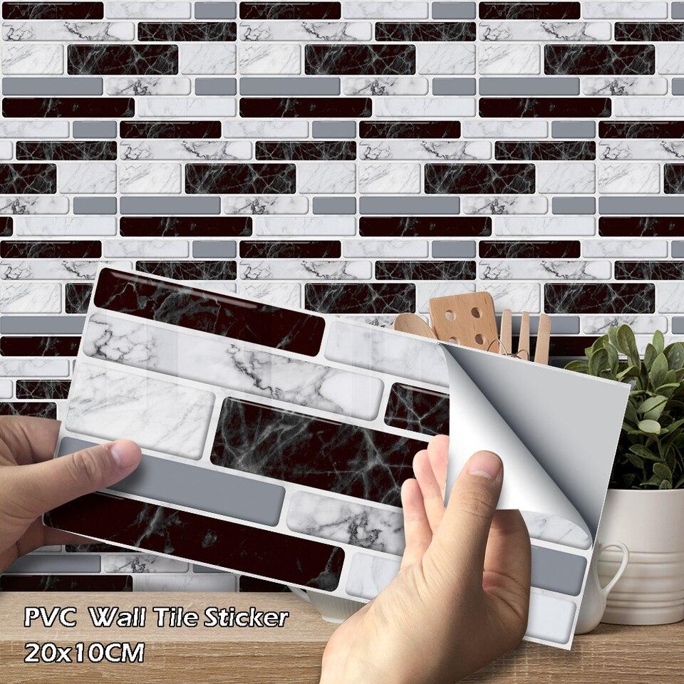 9Pcs Kitchen PVC Long Brick Wall Tile Stickers Home Decor Self-adhesive 20x10cm