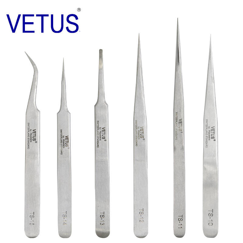 100%VETUS TS Series Stainless Steel Industrial Anti-static Tweezers Watchmaker Repair Tools With Security Label