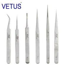 100% VETUS-Pinzas antiestáticas industriales de acero inoxidable, herramientas de reparación de relojería con etiqueta de seguridad, serie TS